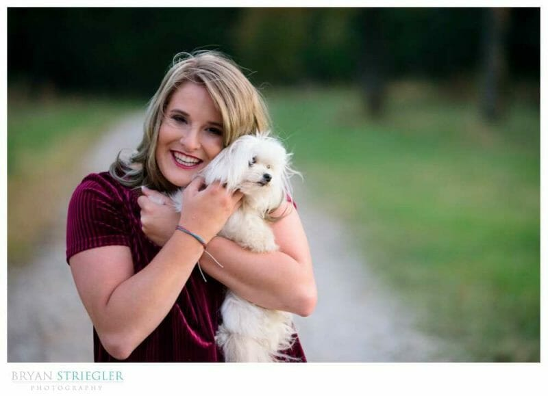 Engagement photo with her dog