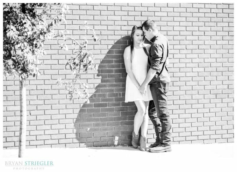 black and white engagement photo in Fayetteville