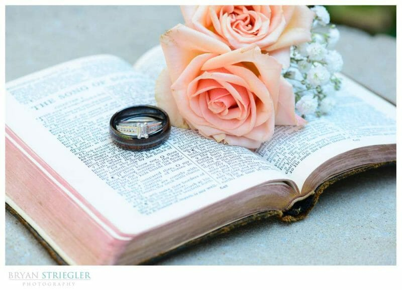 wedding rings and flowers in a Bible