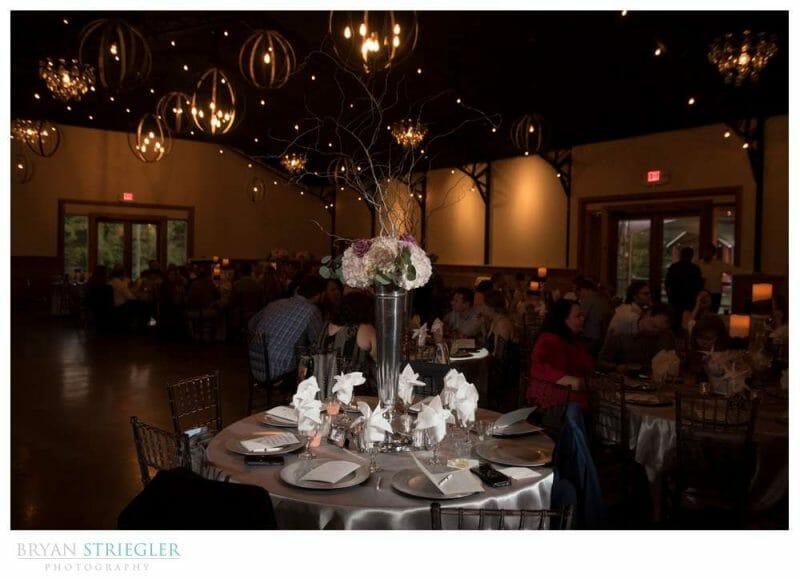 Center pieces at wedding at Sassafras Springs