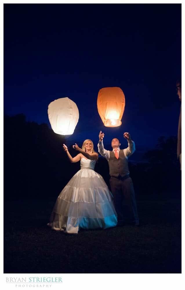 Wedding couple lighting Chinese lanterns