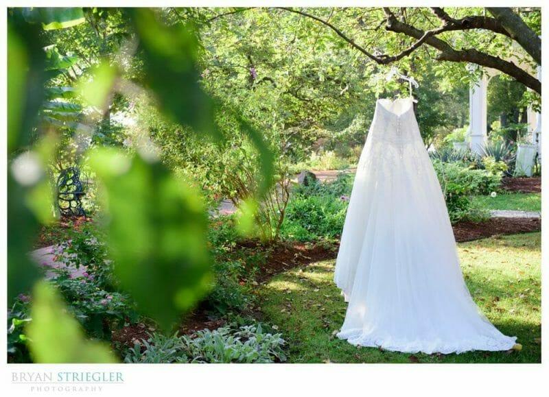 wedding dress hanging at peel mansion