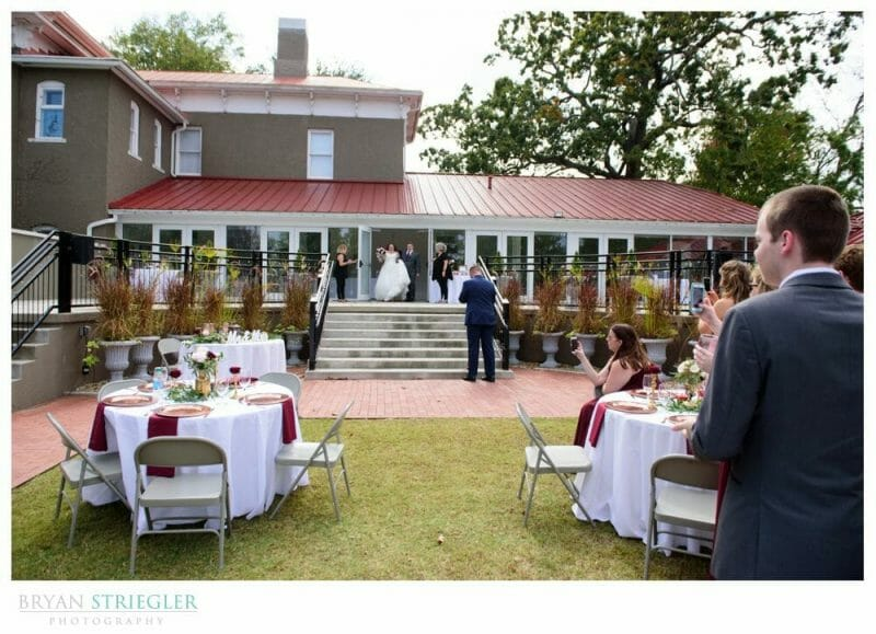outdoors wedding reception at the Peel Mansion