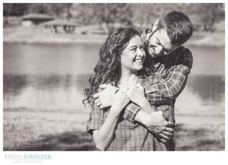 engagement photo in front of Fort Smith Lake