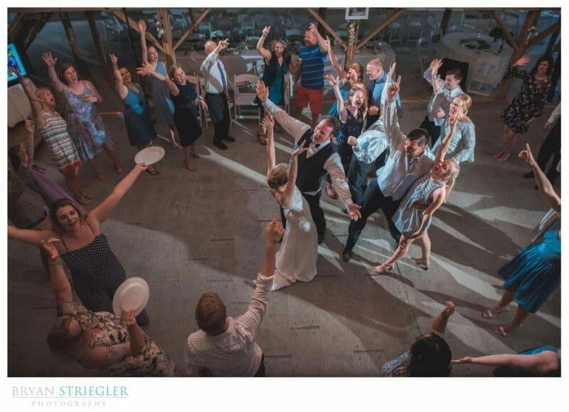 high angle of dancing at wedding