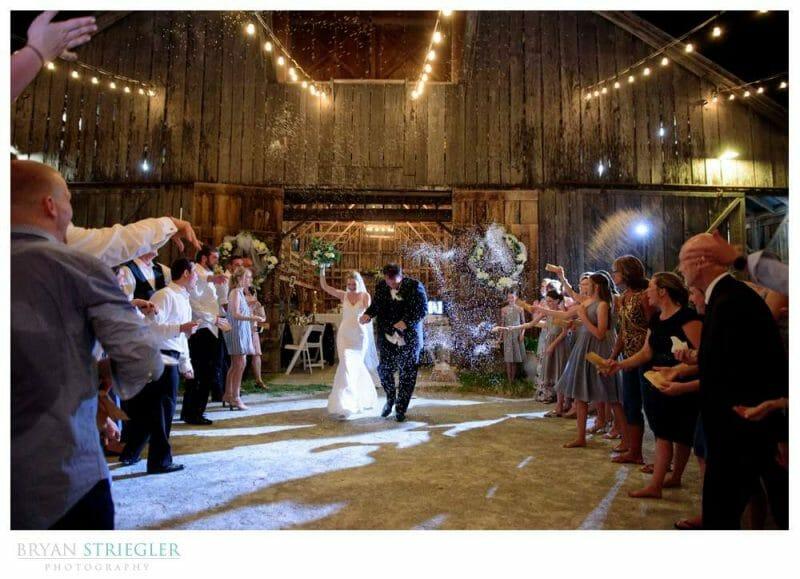 rice exit at wedding