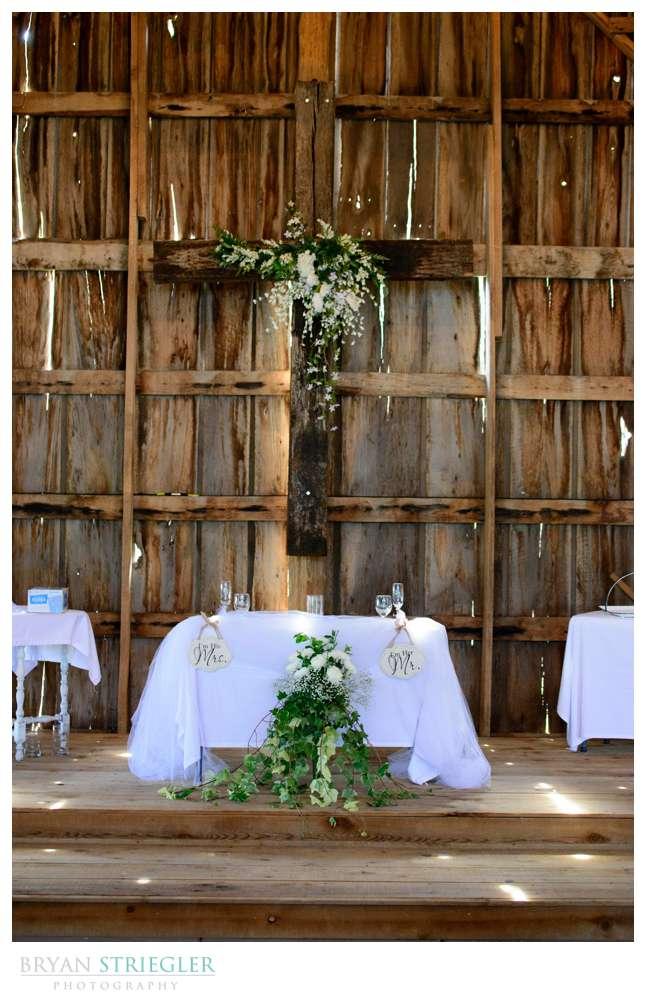 head wedding table with cross