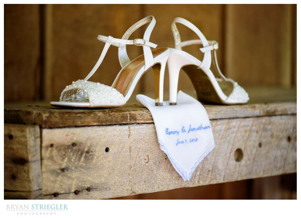 wedding shoes with handkerchief