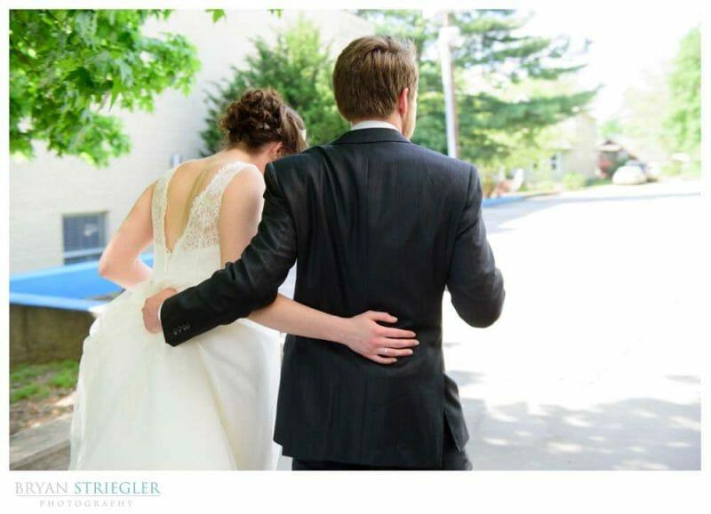 couple leaving wedding