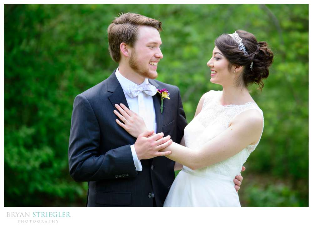 bride and groom at Wilson Park