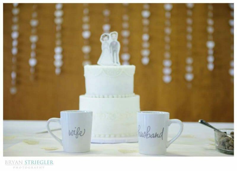wedding cake with coffee cups