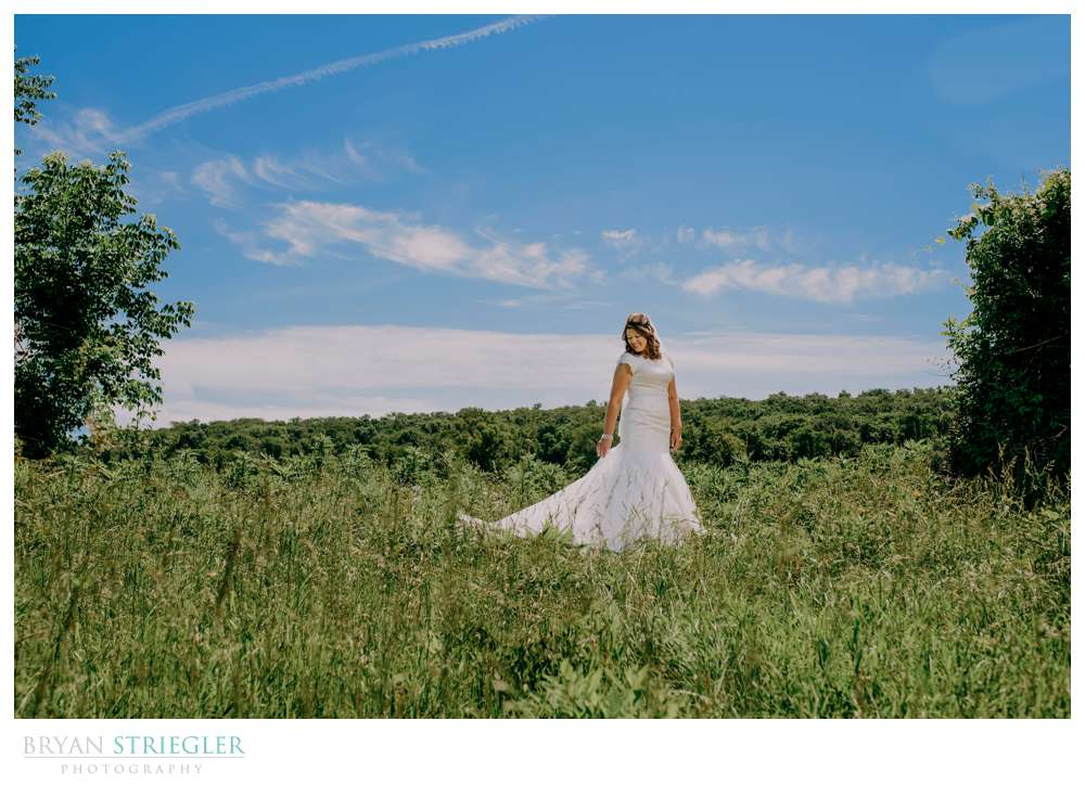 bridal portrait in clearing
