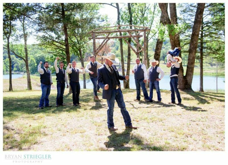 wedding party with cowboy hats