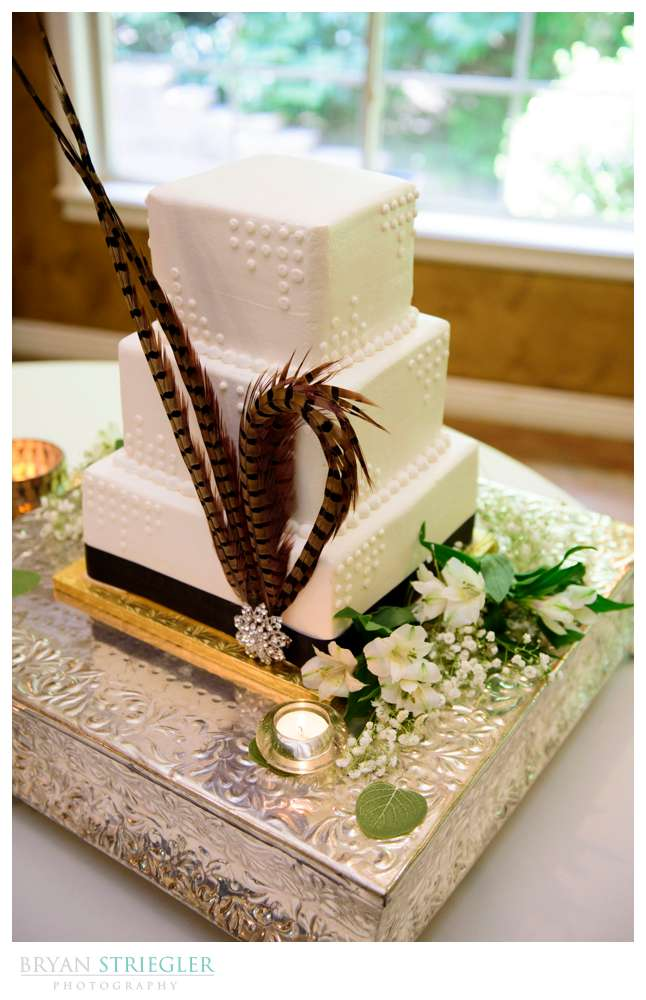 wedding cake with feather