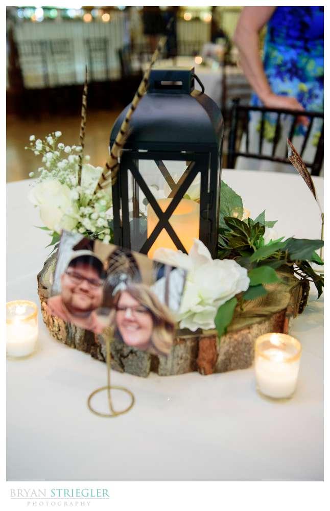 wedding center piece with photos