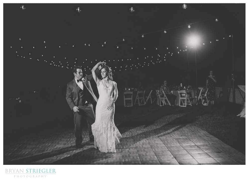 first dance with lights in background