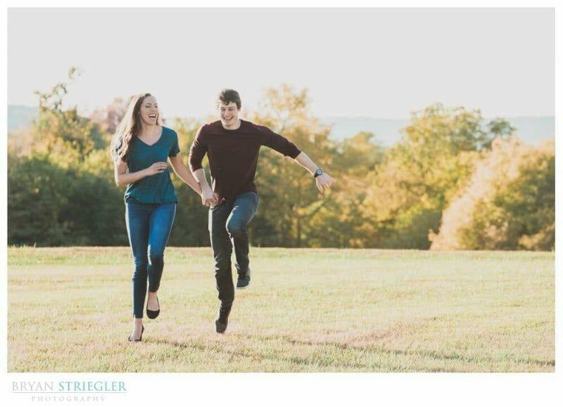 skipping through a field