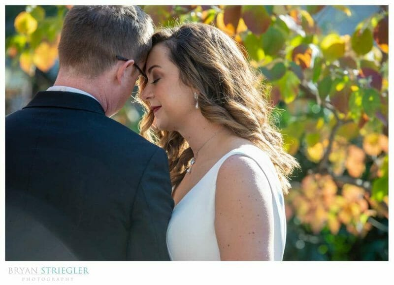 wedding portrait with beautiful leaves