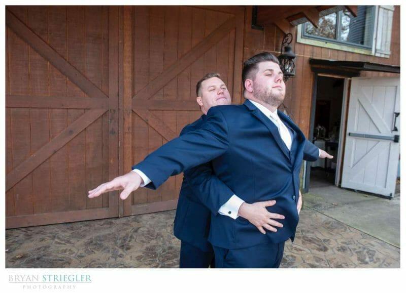 Titanic pose with groomsmen