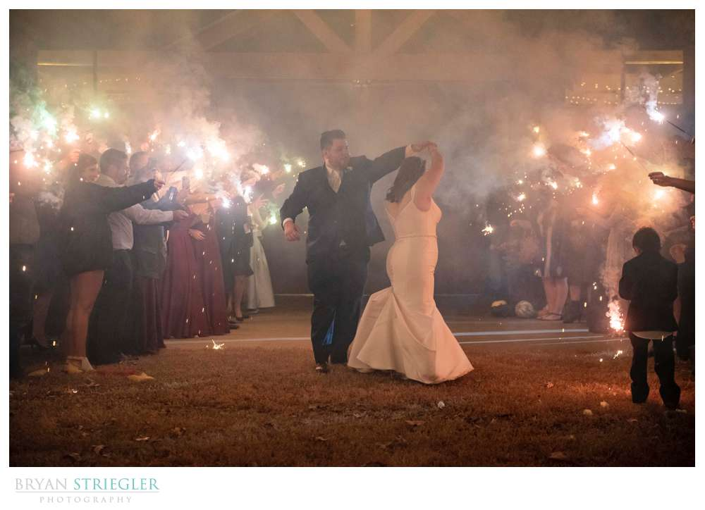 sparkler exit at the Barn at the Springs