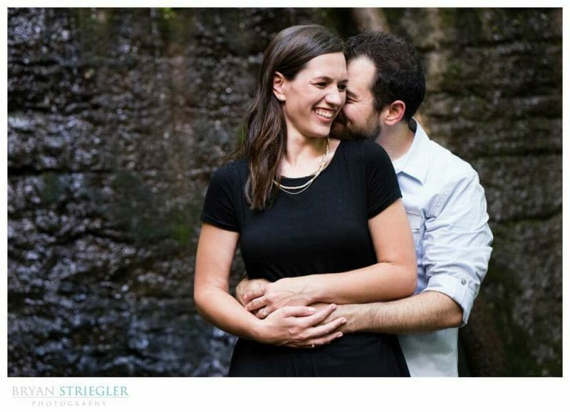 couple laughing during engagement