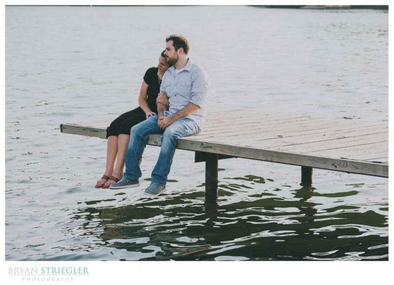 engagement photo on a dock
