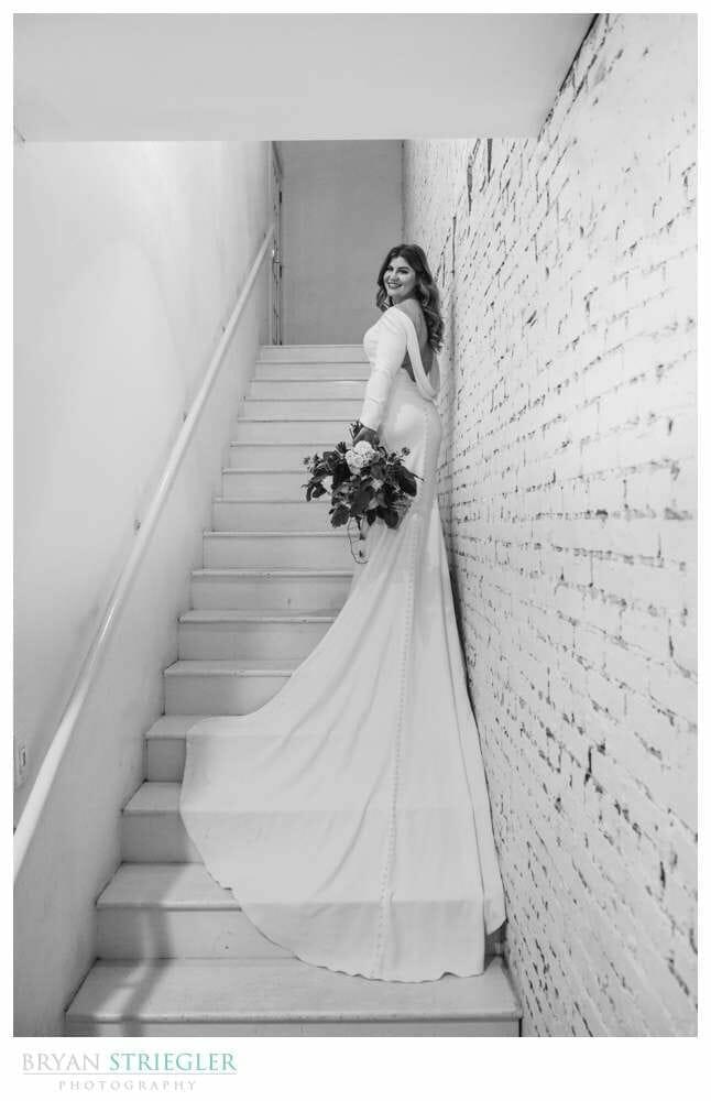 bridal shot on stairs of Ravington