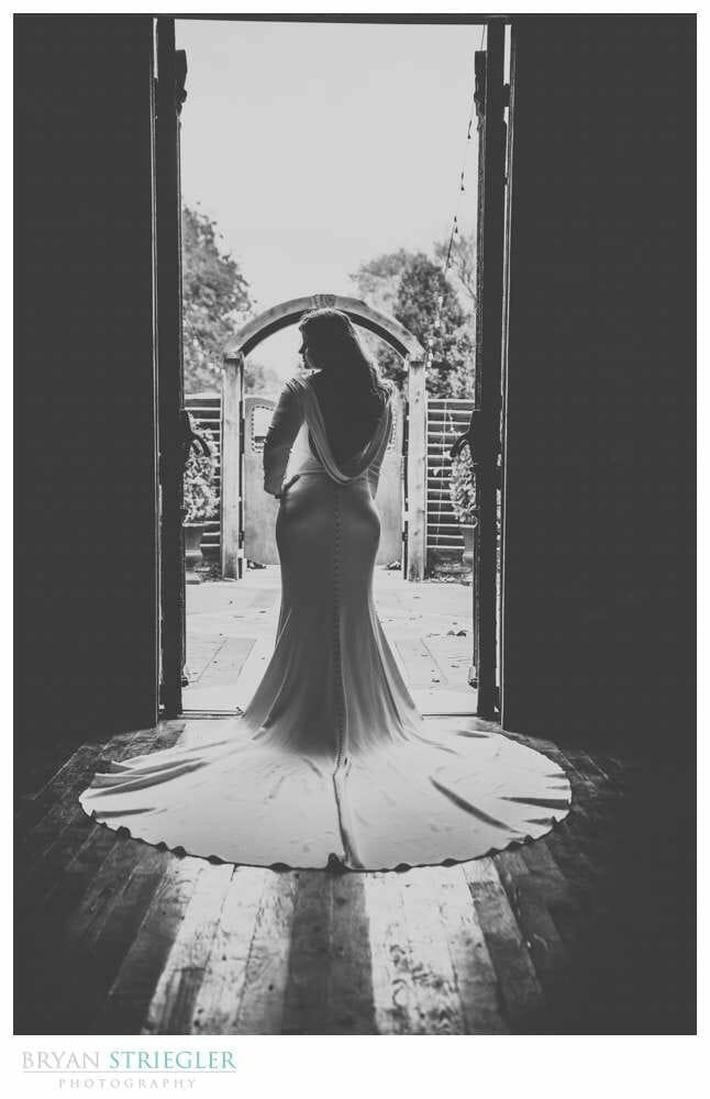 silhouette bridal portrait in doorway