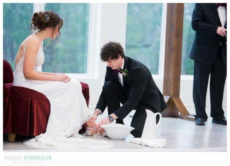 foot washing during wedding ceremony