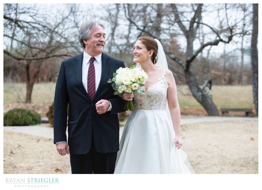 bride with dad outside St. Catherine's at Bell Gable