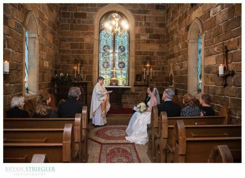 intimate ceremony inside St. Catherine's at Bell Gable