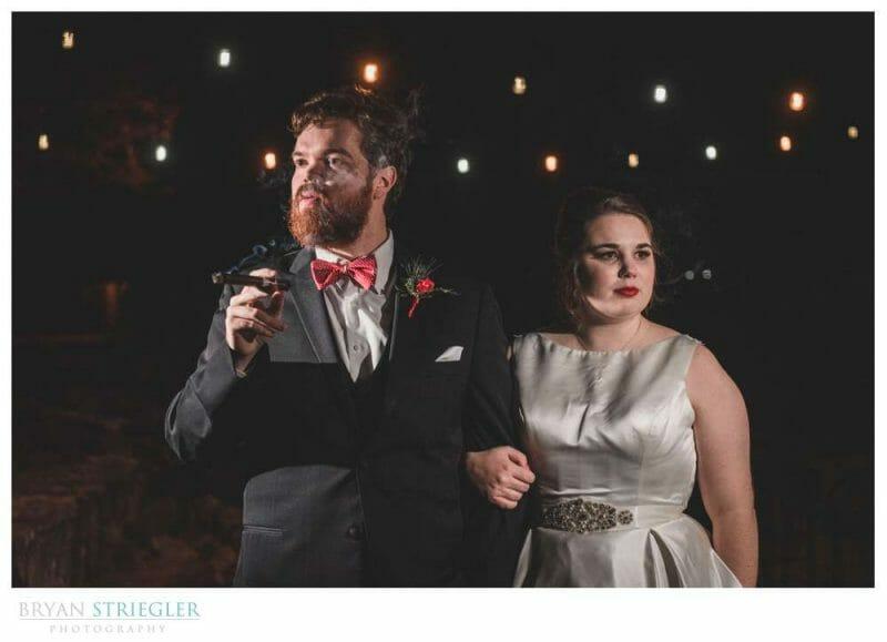 groom with cigar smoking