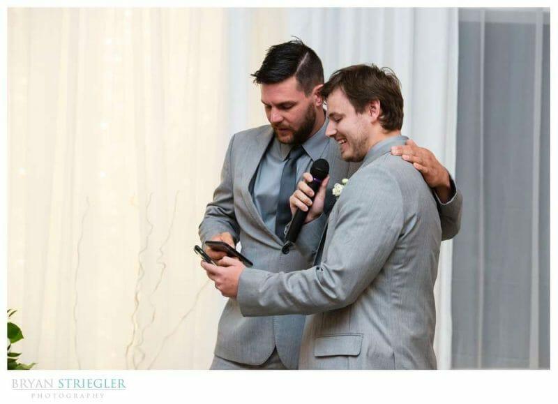 groomsmen singing to groom