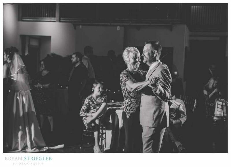 mother son dance in black and white