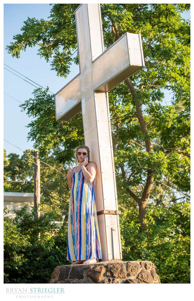 girl with cross at Mount Sequoyah