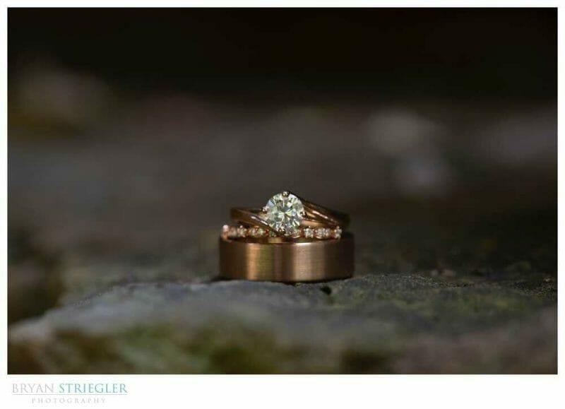 wedding ring on rock