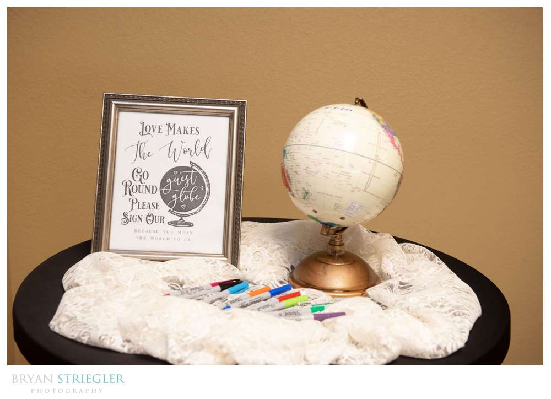 Globe guest book at wedding