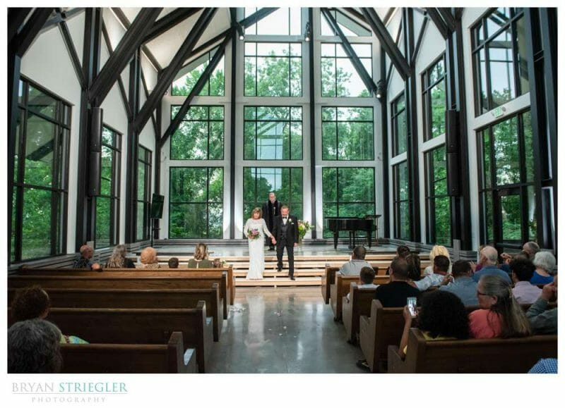 wedding inside of the CLC glass chapel