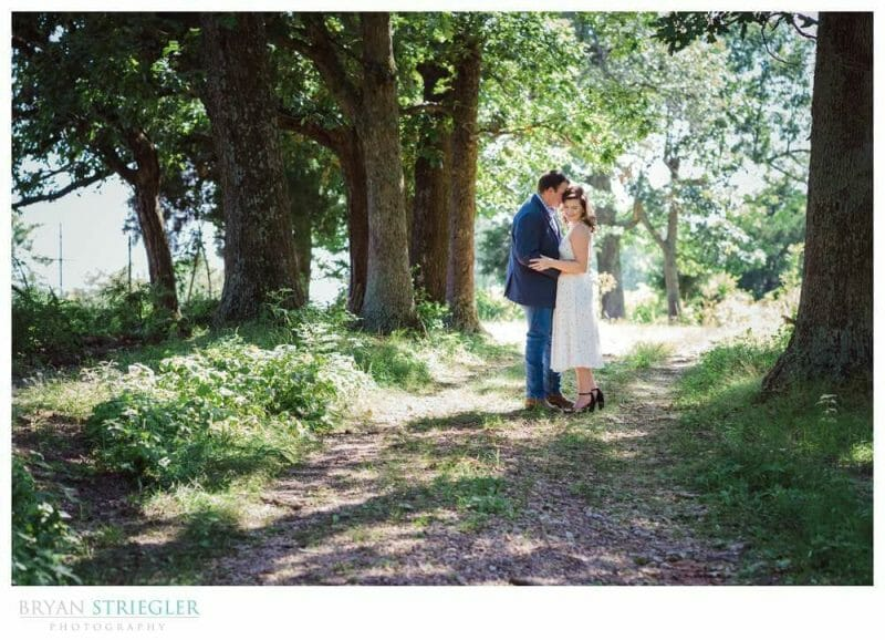 wedding couple in the woods during the summer
