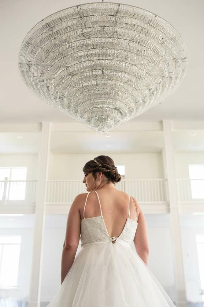 wedding venue with giant chandelier