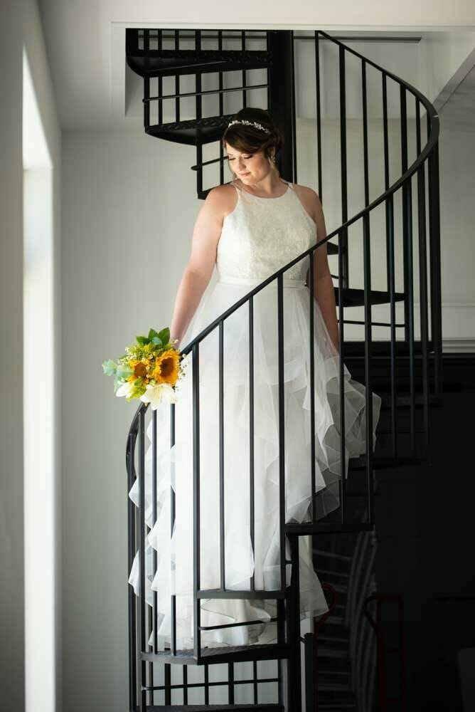 bridal portrait on spiral staircase