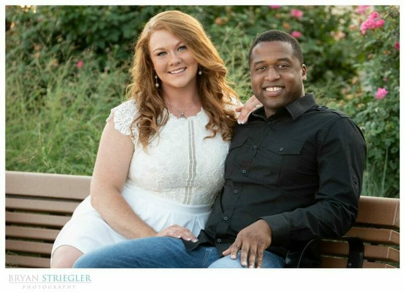 engagement photo on bench