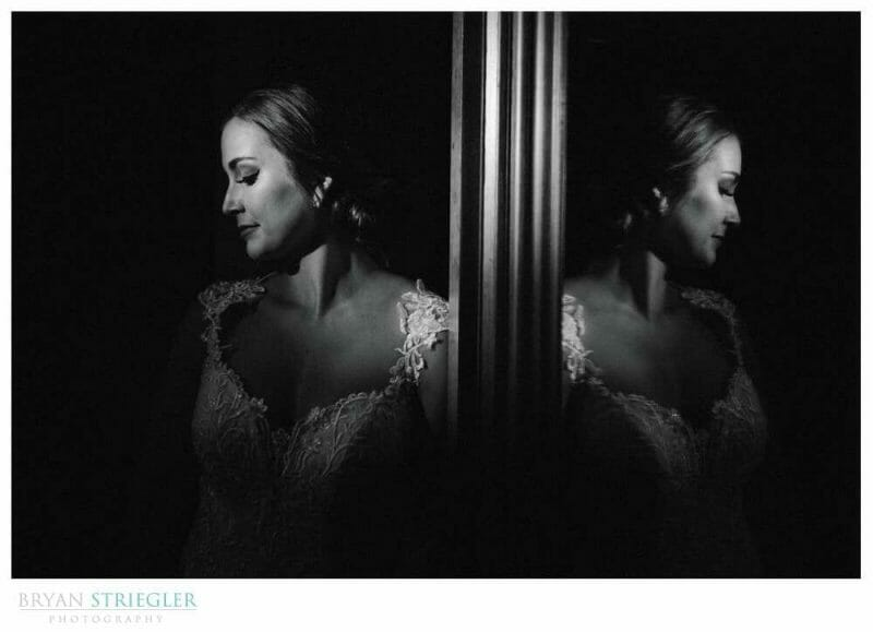 bridal portrait with reflection