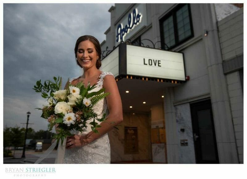 bridal portraits at old movie theatre