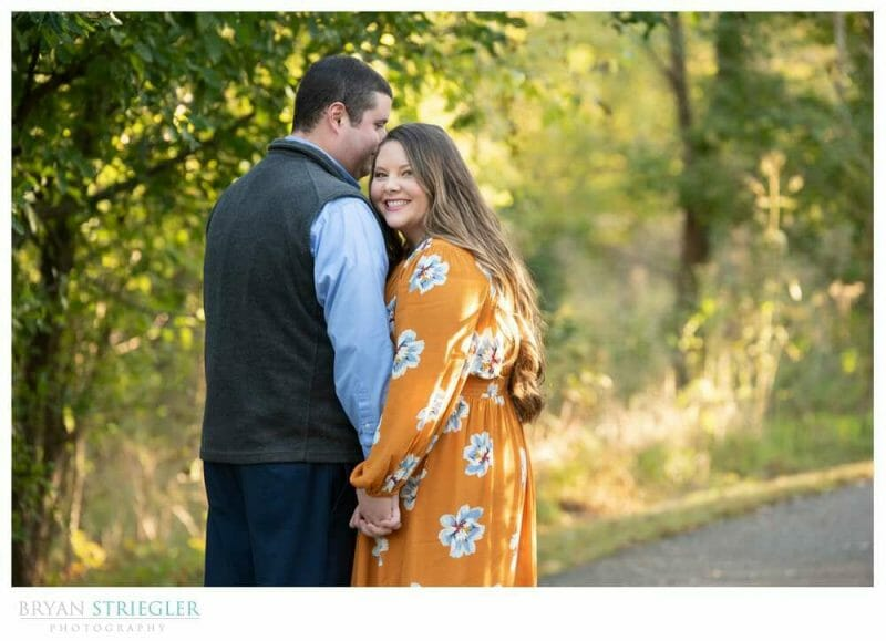 engagement photo with bright dress