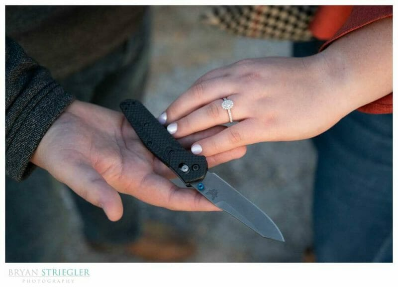 engagement ring and knife