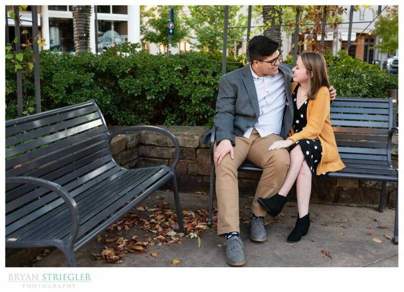 engagement photos on bench
