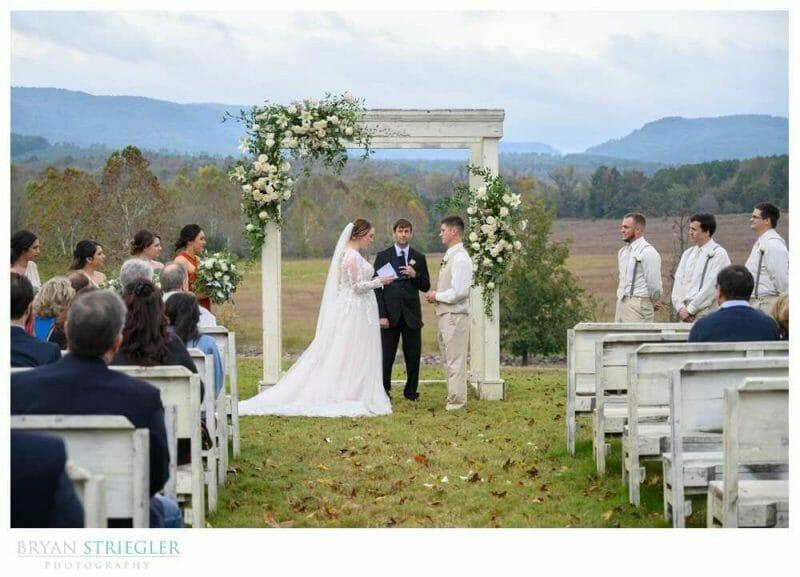 outdoor wedding ceremony at Heritage Acres