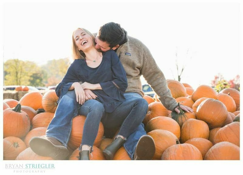 engagement photos with pumpkins