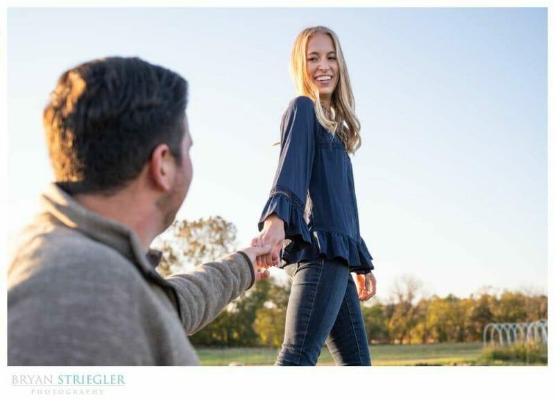 walking engagement photo